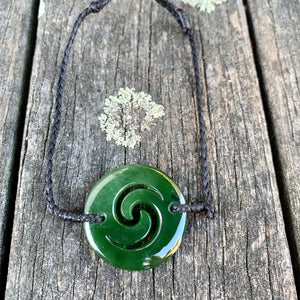 Double Koru Marsden Flower Bracelet, New Zealand Greenstone