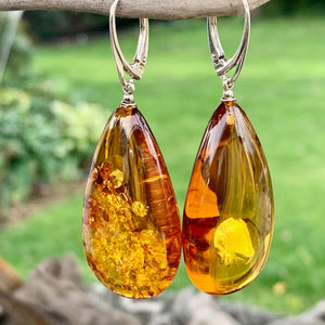 Large Baltic Amber Drop Earrings, Rowena Watson Designs