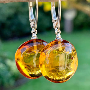 Round Baltic Amber Earrings, Rowena Watson Designs