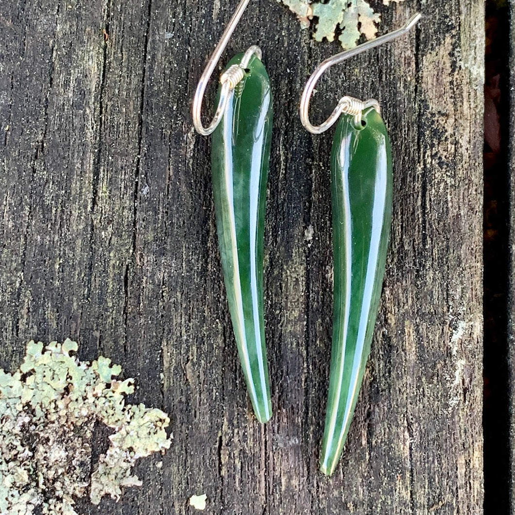 Marsden Flower Earrings, New Zealand Greenstone