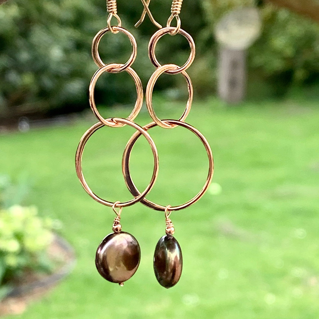 Freshwater Peacock Pearl and Rose Gold Fill Earrings, Rowena Watson Designs