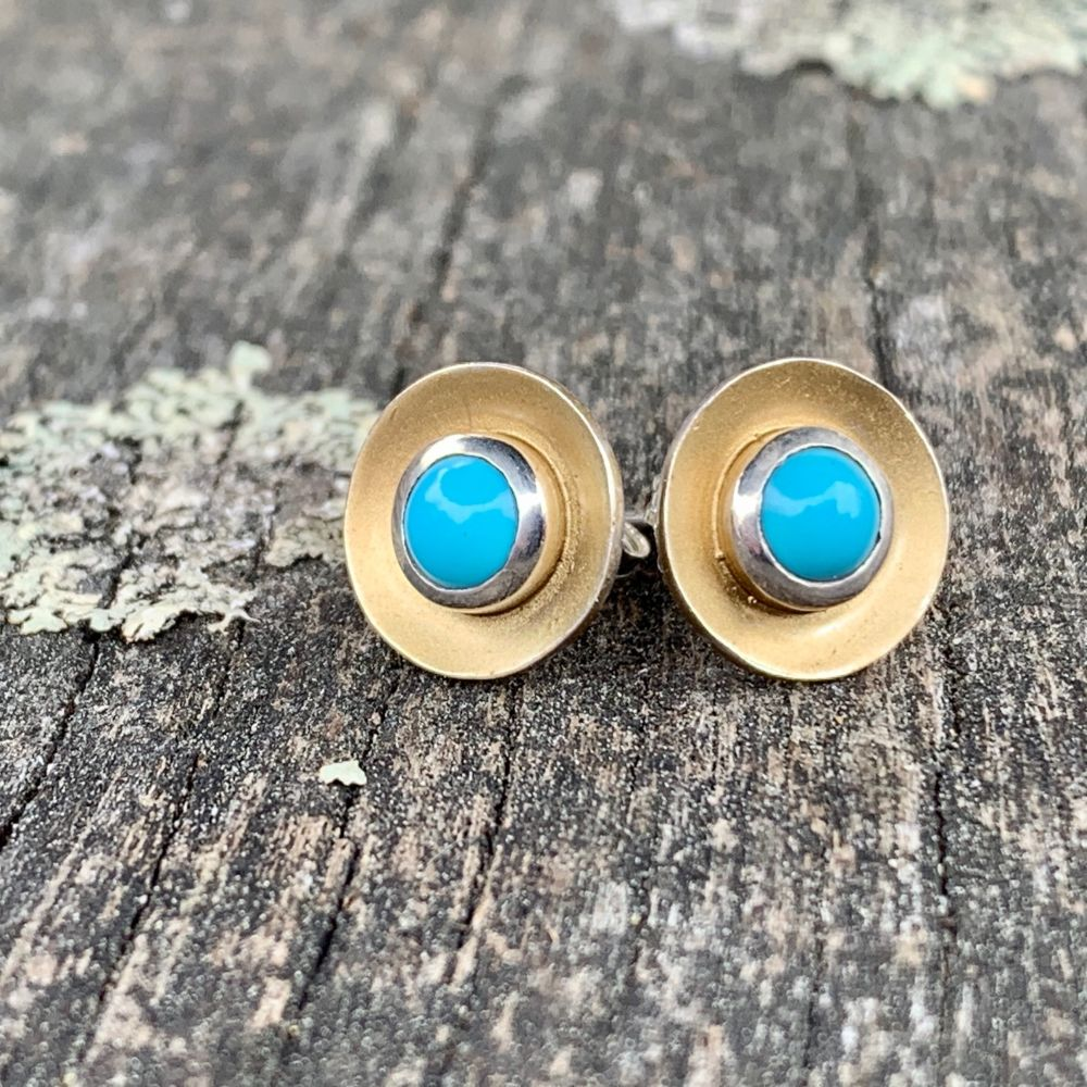 Sleeping Beauty Turquoise Disc Stud Earrings, Rowena Watson Designs