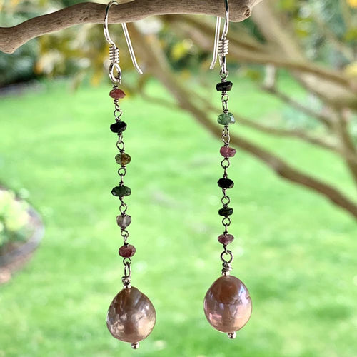 Natural Pink Freshwater Pearl and Tourmaline Earrings, Rowena Watson Designs
