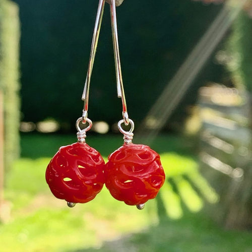 Red Venetian Glass and Sterling Silver Earrings, Rowena Watson Designs