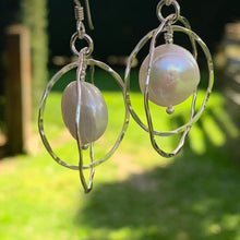 White Freshwater Pearl and Double Hoop Earrings, Rowena Watson Designs