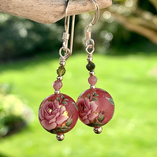 Pink Japanese Decal Bead and Tourmaline Earrings, Rowena Watson Designs