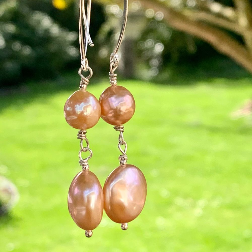 Double Natural Pink Freshwater Pearl Earrings, Rowena Watson Designs