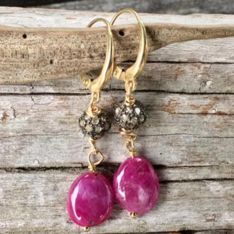 Indian Ruby, Diamond and gold Earrings, Rowena Watson Designs