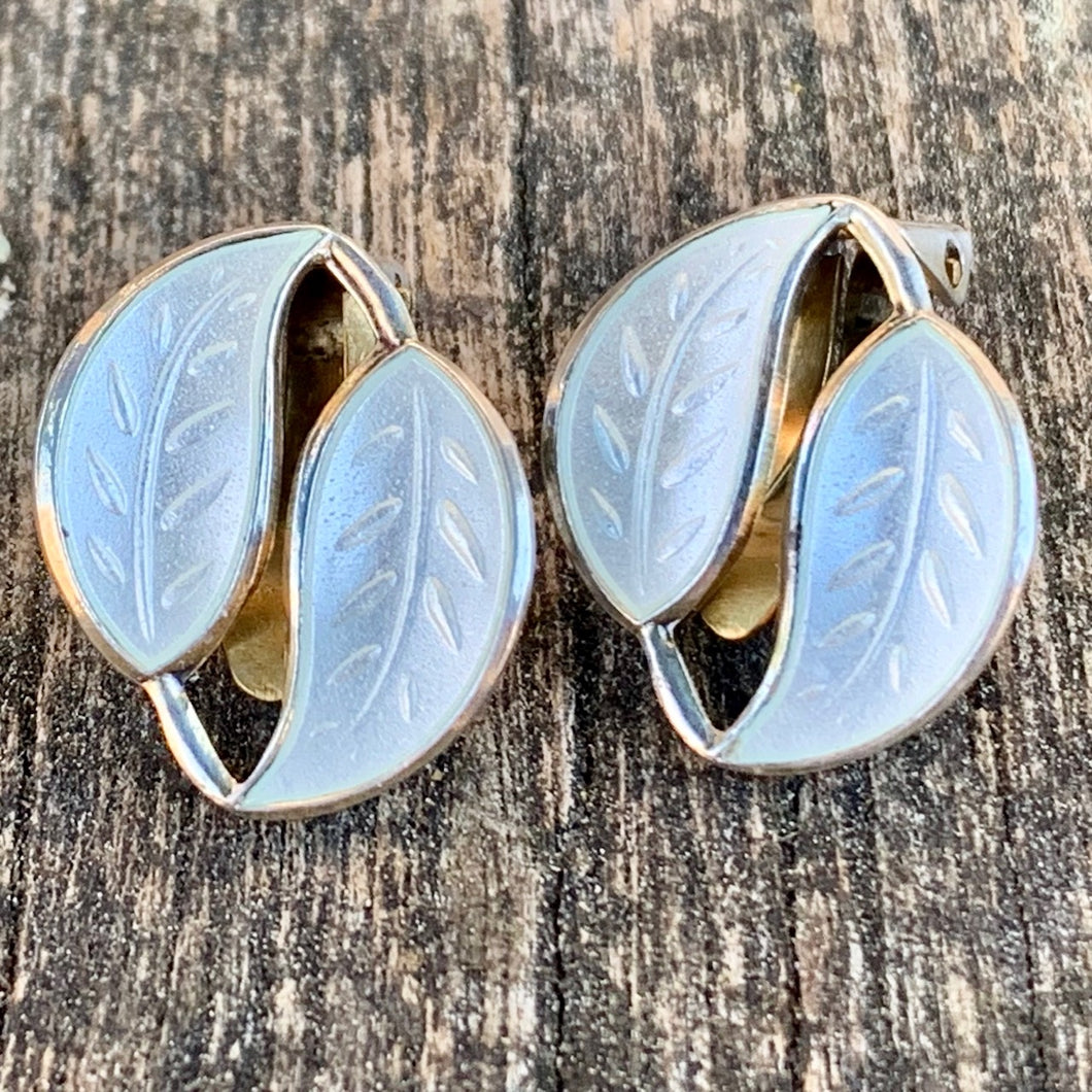 Vintage Enamel Leaf Clip-On Earrings, White, David Andersen