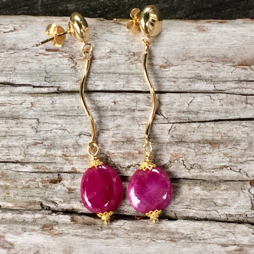 Indian Ruby and Gold Earrings, Rowena Watson Designs