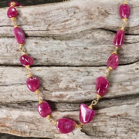 Indian Ruby and Gold Necklace, Rowena Watson Designs