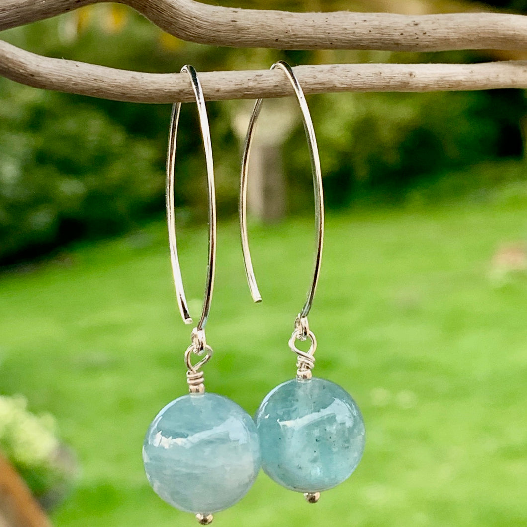 Aquamarine and Sterling Silver Earrings, Rowena Watson Designs