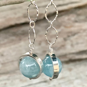 Aquamarine and Sterling Chain Earrings, Rowena Watson Designs