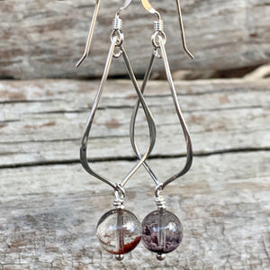 Phantom Quartz and Sterling Silver Earrings, Rowena Watson Designs
