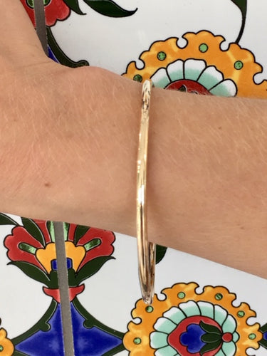 Solid Yellow Gold Smooth Bangle, Rowena Watson Designs
