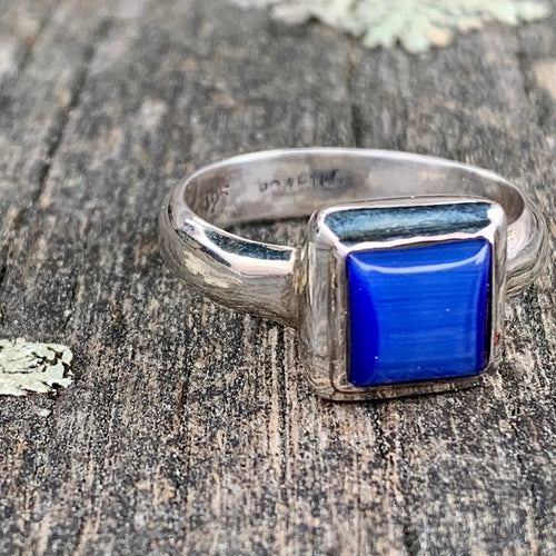 Sapphire Blue Fibre Optic Glass Ring, Rowena Watson Designs