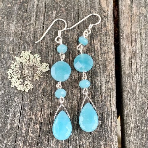 4-Teir Sterling Silver and Amazonite Earrings, Rowena Watson Designs