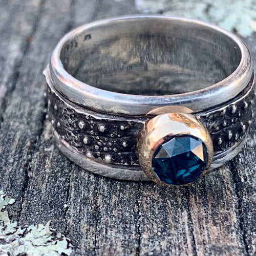 London Blue Topaz in 9ct Yellow Gold on Sterling Canterbury Scree Spinner Ring, Rowena Watson Designs