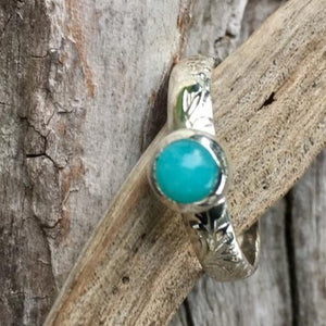 Amazonite Ring With Embossed Band, Rowena Watson Designs