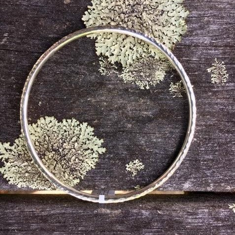 Solid Sterling Silver Beaten Bangle 3mm, Rowena Watson Designs