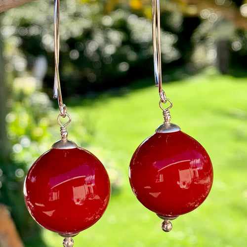 Red Blown Venetian Glass Earrings, Rowena Watson Designs