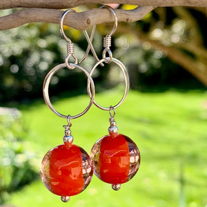 Two Colour Orange Venetian Glass Earrings, Rowena Watson Designs