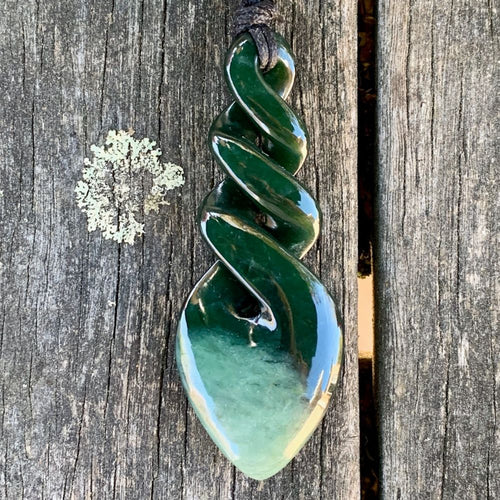 Large Marsden Flower Triple Rau Kumara, New Zealand Greenstone