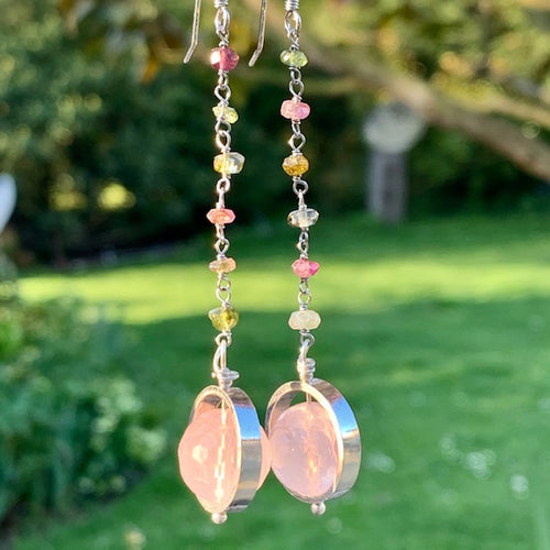 Rose Quartz and Tourmaline Chain Earrings, Rowena Watson Designs