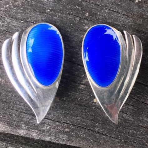 Vintage Norwegian Jacob Tostrup Enamel Clip On Earrings