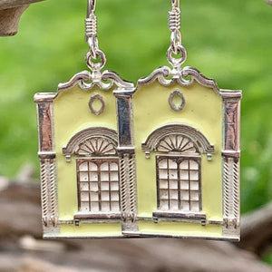 New Regent Street Earrings, Sterling Silver and Glass Enamel, Pastel Yellow, Rowena Watson Designs