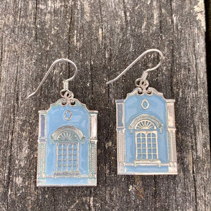 New Regent Street Earrings, Sterling Silver and Glass Enamel, Pastel Blue, Rowena Watson Designs