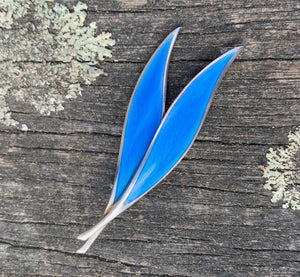 Vintage Enamel Modernist Double Leaf Brooch, Thune of Norway