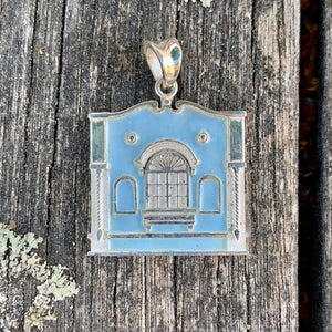 New Regent Street Pendant, Sterling Silver and Glass Enamel, Pastel Blue, Rowena Watson Designs