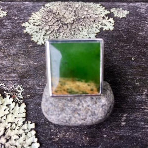 Square Marsden Flower Greenstone Ring, Rowena Watson Designs