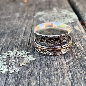 Sterling Silver and 9ct Rose Gold Ornate Spinner Ring, Rowena Watson Designs
