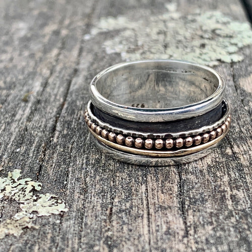Sterling Silver and Gold Fill Spinner Ring, Rowena Watson Designs