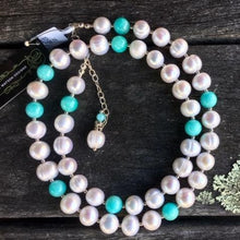 Amazonite and Fresh Water Pearl Necklace, Rowena Watson Designs