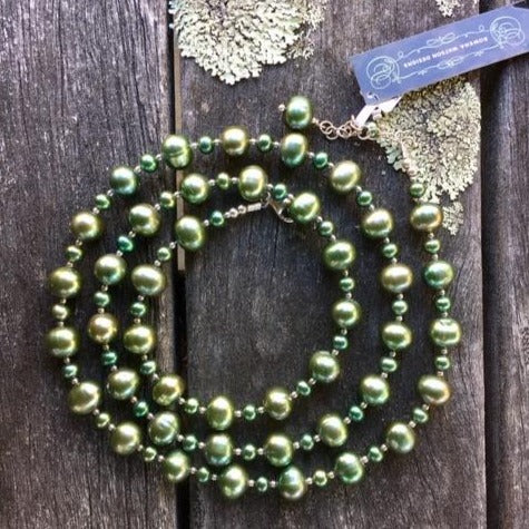 Green Fresh Water Pearl Necklace, Rowena Watson designs