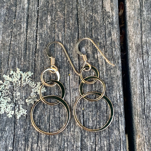 Triple Yellow Gold Fill Loop Earrings