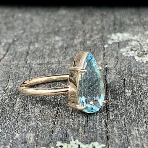 9ct Gold and Faceted Tear Drop Aquamarine Ring, Rowena Watson Designs