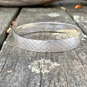Sterling Silver Criss-Cross Riveted Bangle, Rowena Watson Designs
