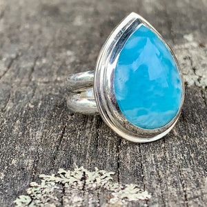 Teardrop Larimar and Sterling Silver Ring, Rowena Watson Designs