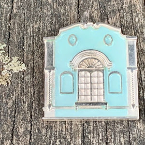 New Regent Street Brooch, Sterling Silver and Glass Enamel, Pastel Sea Green, Rowena Watson Designs