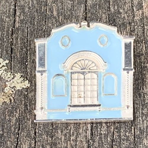 New Regent Street Brooch, Sterling Silver and Glass Enamel, Pastel Blue, Rowena Watson Designs