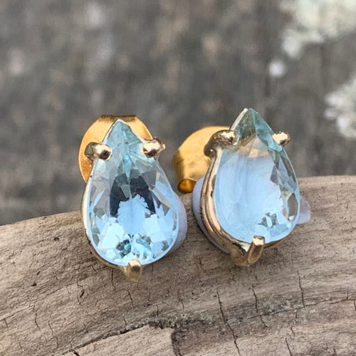 9ct Gold and Faceted Tear Drop Aquamarine Stud Earrings, Rowena Watson Designs
