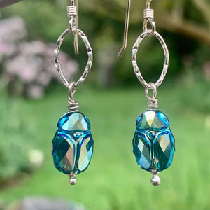 Swarovski Crystal Scarab Beetle Earrings