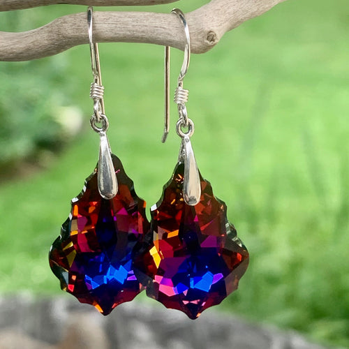 Swarovski Drop Earrings, Fiery Colours