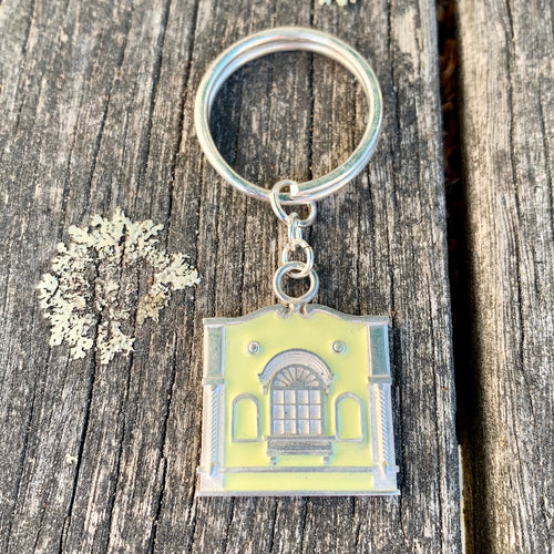 New Regent Street Keyring, Sterling Silver and Glass Enamel, Pastel Yellow, Rowena Watson Designs