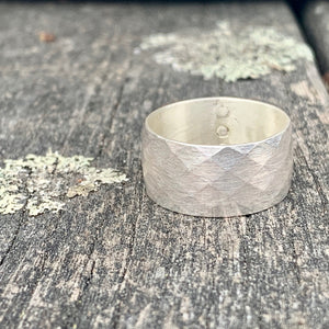 Sterling Silver Criss-Cross Riveted Ring, Rowena Watson Designs