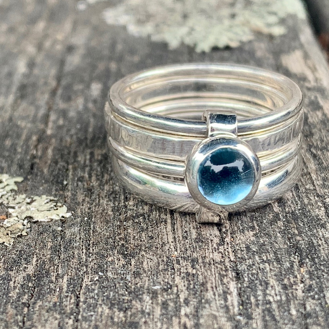 Blue Topaz Unity Spinner Ring, Rowena Watson Designs
